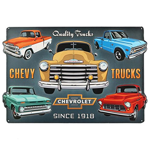 Open Road Brands Chevy Truck Collage Embossed Tin Sign
