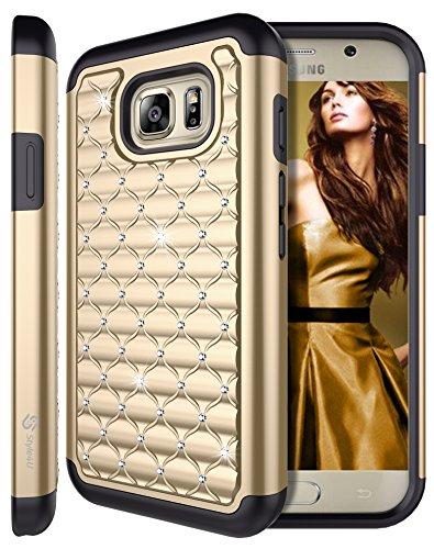 Galaxy S7 Active Case, S7 ACTIVE Case, Style4U Studded Rhinestone Crystal Bling Hybrid Armor Case Cover for Samsung Galaxy S7 Active [Not For Galaxy S7] with 1 Style4U Stylus [Gold / Black]