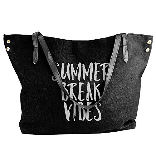 Canvas Handbag Shoulder Large Vibes Hand Break Women's Black Bag Summer Tote dFHUdnq