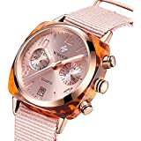 WWOOR Women's Nylon Sport Multifunction Watch Fashion Analog Quartz Watches with Date Waterproof Wristwatch Casual Watch Ladies (Pink)