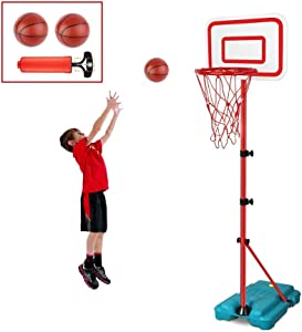 E EAKSON Kids Basketball Hoop Stand Adjustable Height 2.9 ft -6.2 ft Indoor Basketball Hoop Outdoor Toys Outside Backyard Games Mini Hoop Basketball Goal Gifts for Boys Girls Toddlers Age 3 4 5 6 7 8