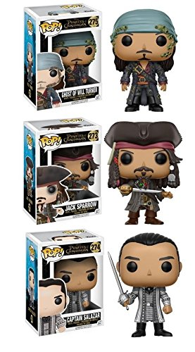 Will Turner Pirates Of The Caribbean - Funko Disney: Pop Pirates of The Caribbean Collectors Set Jack Sparrow, Captain Salazar, Ghost of Will Turner Action Figure