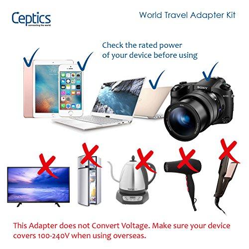 International Power Adapter, Ceptics World Travel USB Type C QC 3.0 18W PD Plug Adaptor Kit - 3 USB Ports Wall Charger Type I C G A Outlets 110V 220V A/C - 5V D/C - EU Euro US UK - All in One by Ceptics (Image #3)