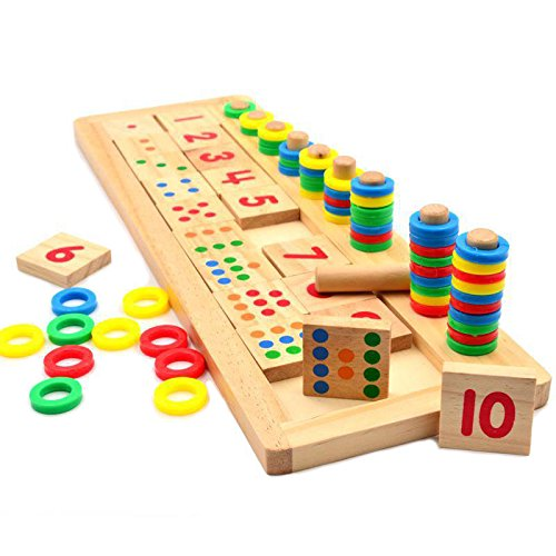Montessori Rainbow Rings Dominos Children Preschool Teaching Aids Board Wooden Math Toy