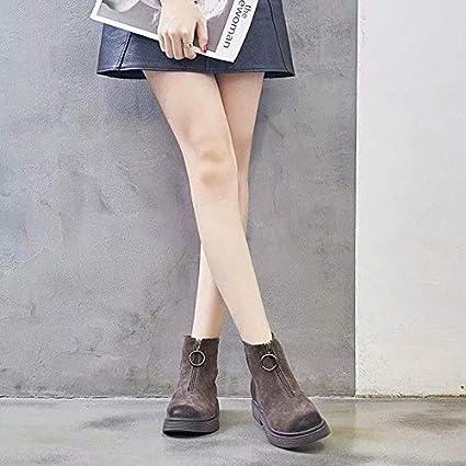 Shukun Bottes Longue Section Matte Martin Boots Femme Bottes Courtes Locomotive r/étro Maigre Bottes avec Fermeture /à glissi/ère Avant Chaussures dautomne