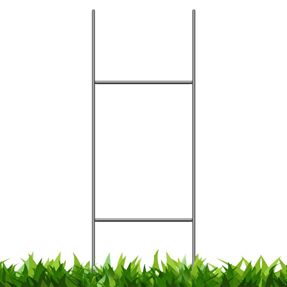 Pack of 50 Quantity Heavy Duty Metal H-Stakes H Frame Wire Stakes - Yard Sign Stake - Use with 4mm Corrugated Signs Vibe Ink Stakes_30in-50qty