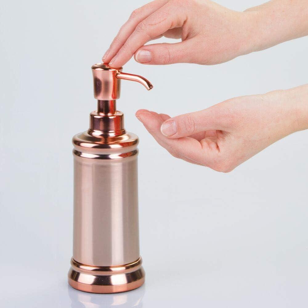 dosificador de jab/ón Fabricados en pl/ástico resistente rosa//plateado Porta cepillos de dientes contenedor con tapa y vaso mDesign Juego de 4 accesorios para el ba/ño