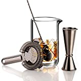 VinoBravo Crystal Cocktail Mixing Glass Bar Set/Bartender Kit : 18oz - 550ml Cocktail Glass Mixer with Weighted Thick Bottom,12'' Mixing Spoon, Hawthorne Strainer & Japanese Jigger