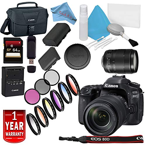 Canon EOS 80D DSLR Camera 18-135mm Lens USA Model Warranty Base Bundle