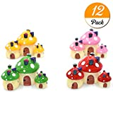 #9: YEDREAM 12pcs Miniature Fairy Garden Mushroom House Dollhouses Ornament Mini Landscape Outdoor Decor Home Decoration (4colors)