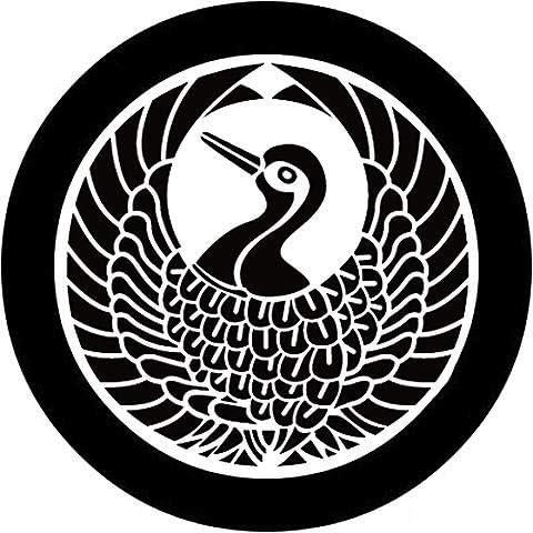 家紋シール 「丸に舞鶴」6枚入 男性紋・女性紋・子供サイズ・黒地用・白地用 貼付け家紋 着物用 KOM178