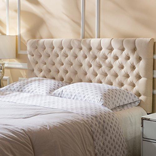Christopher Knight Home Jezebel Fabric Queen/Full Headboard, Beige (Mounted Beds Queen Headboards For Wall)