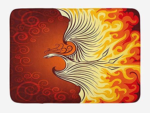 Orange Bath Mat, Illustration of Flying Phoenix Bird in The Burning Flame Mythical Creature Print, Plush Bathroom Decor Mat with Non Slip Backing, 23.6 W X 15.7 W Inches, Orange Yellow