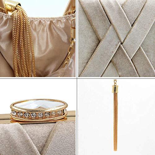 ORPIO Women's Elegant Tassel Velvet Evening Party Clutch Bags Bridal Wedding Purse Handbags Fashion Suede Dinner Bag