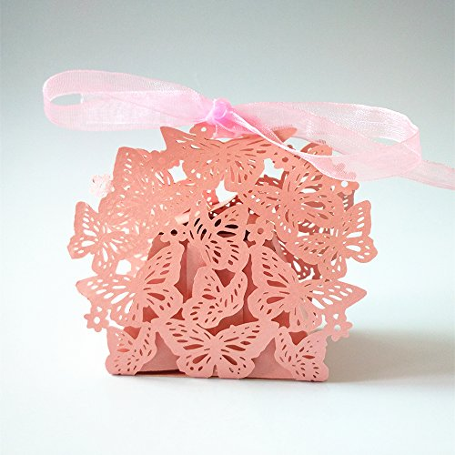 Gospire 50pcs Butterfly Party Wedding Favor Box Birthday Shower Party Candy Boxes Bombonera Pink (Birthday Party Favors Boxes compare prices)