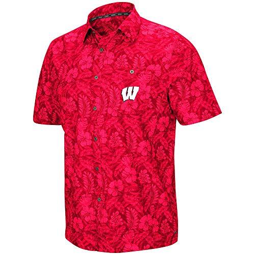Colosseum Mens Wisconsin Badgers Luau Camp Shirt - L