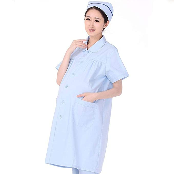 ESENHUANG Enfermera Uniforme Robe Médico Hospital Dental Doctor Lab Coat Embarazo Maternidad Vestido Médico De Manga Corta Ropa De Trabajo: Amazon.es: Ropa ...