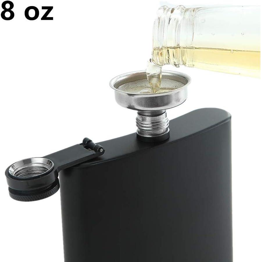 Flasque a Alcool pour Boire de Lalcool Junxave Flasque de Whisky avec Entonnoir du Rhum et de la Vodka du Whisky Cadeau pour Hommes et Femmes 8 Oz Noir Inoxydable Flasque Alcool
