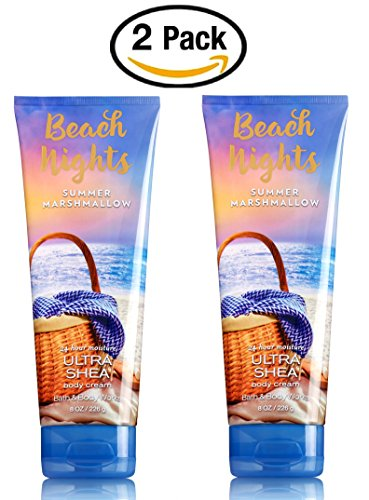 Bath Body Works Set of 2 Beach Nights Summer Marshmallow Body Creams 8 Ounce Each