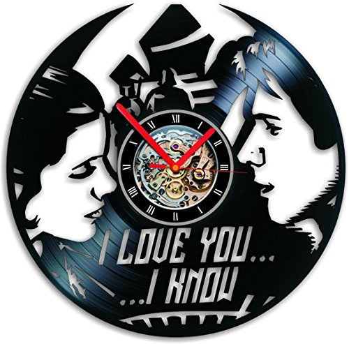 (Wall Clock Leia Han Star Wars Vinyl Clock Record Clock Vinyl Record Clock Birthday Gift Clock Vinyl Han Solo Disney Wall Art Princess Leia)