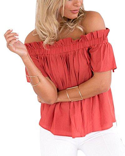 Minetom Mujer Verano Camisas Manga Corta Atractivo Off Shoulder Blusa Elegante T-shirt Tops Rojo