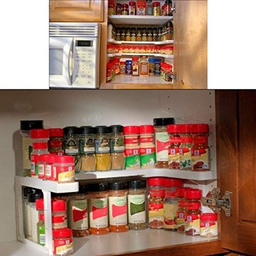 BeesClover 2 Layers Adjustable Multi-Function Shelf Kitchen Spice Organizer Storage Rack Shelf Rack Kitchen Spice Seasoning Carrier