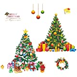 2 Merry Christmas Window Trees Clings Stickers Removable Wall Decals Decor with Xmas Wreath for Window Wall Self-Adhesive Holiday Home Decoration