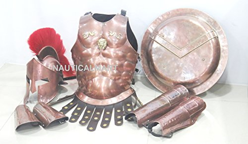 Leonidas Costumes (Medieval Spartan Copper 300 Helmet W/ Red Plume Muscle Armor by Nauticalmart)