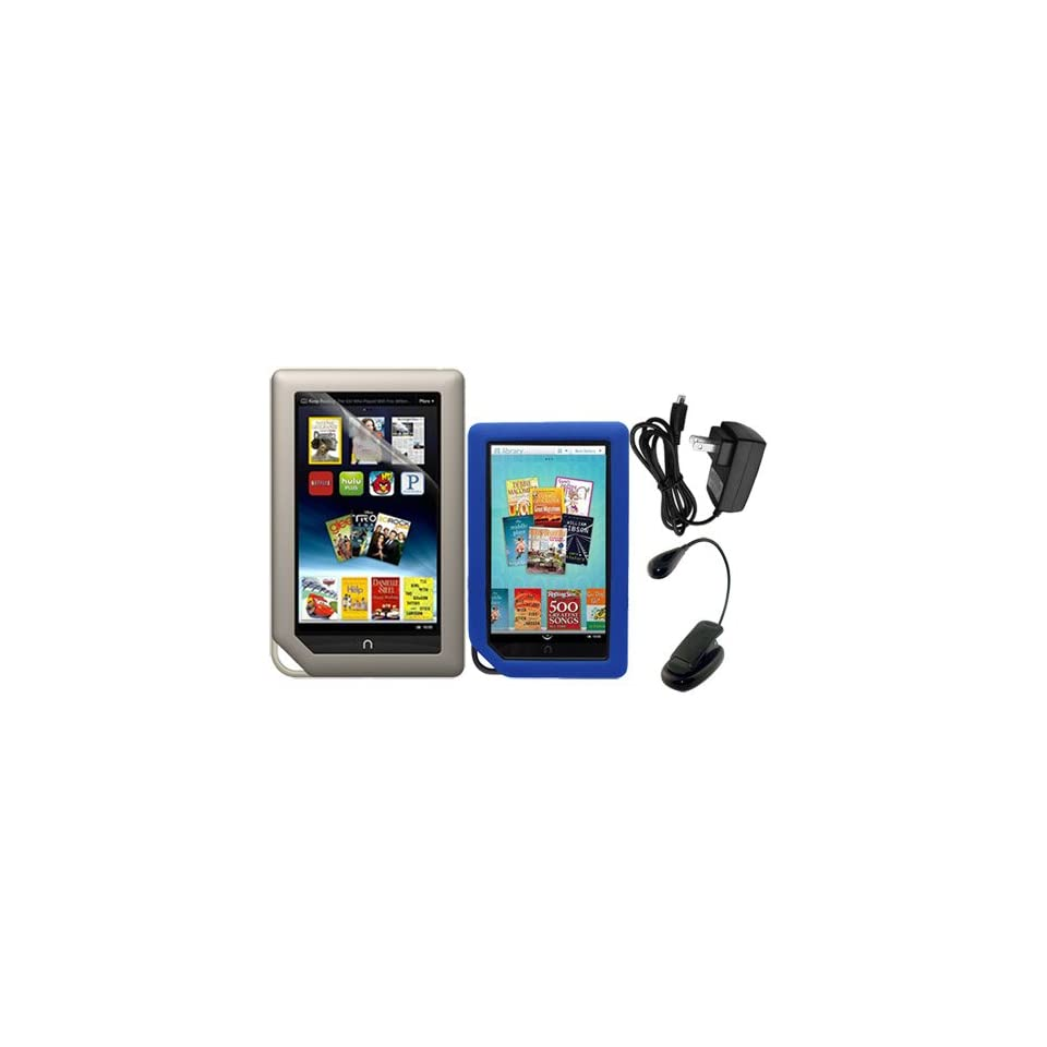 Skque Clear Screen Protector + Blue Soft Silicone Cover Case + Black LED Clip on Reading Book Light + 2000mAH USB Wall Charger for Barnes&Noble Nook Color Ebook Reader