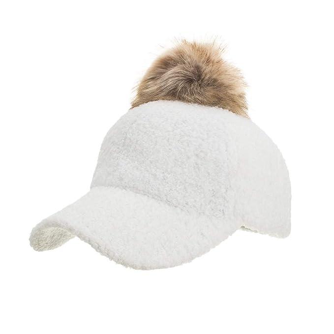 91313c18345 Amazon.com - SUKEQ Pom Pom Baseball Hat for Women