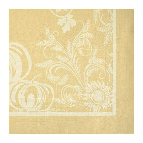 """DII 52x70"""" Rectangular Polyester Tablecloth, Harvest Day Wheat - Perfect for Fall, Thanksgiving, Catering Events, Dinner Parties, Special Occasions or Everyday Use - SEATS 4-6 PEOPLE - See tablecloth size chart in images to decide on size needed for your table. EASY CARE - 100% cotton, machine washable, gentle cycle, tumble dry low. Low iron if needed. ADDS A FINISHING TOUCH -  Let your dinnerware stand out with our color fast wrinkle resistant tablecloths, sure to make a statement. - tablecloths, kitchen-dining-room-table-linens, kitchen-dining-room - 51EfpZ1zyKL. SS570  -"""