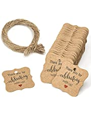 """YiYLunneo 100 Pcs Thank Kraft Paper Gift Tags with 787 inch Natural Jute Twine String for Arts Crafts,Gifts and Pastry Packaging(Label Diameter 1.2"""")"""