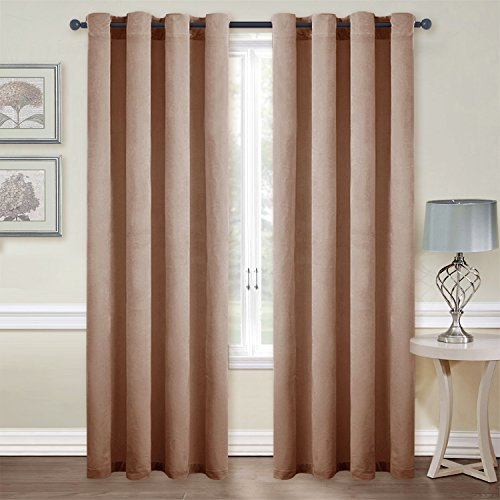 Room Darkening Velvet Curtain Panels - Classic Velvet Woven Home Theater Eyelet Top Drapes by NICETOWN (2 Pieces, W52xL96-inch, Almond (Ring Top Panel)