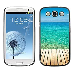 KLONGSHOP // Cubierta de piel con cierre a presión Shell trasero duro de goma Protección Caso - Blue Paradise Agua - Samsung Galaxy S3 //