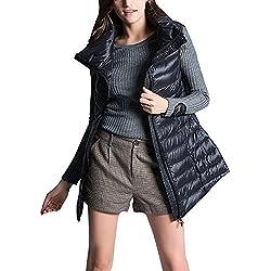 Gooket Women's Mid Long Down Vest Puffer Lightweight Down Jacket Stylish Windbreaker Vest Coat Black Tag 3XL-US L