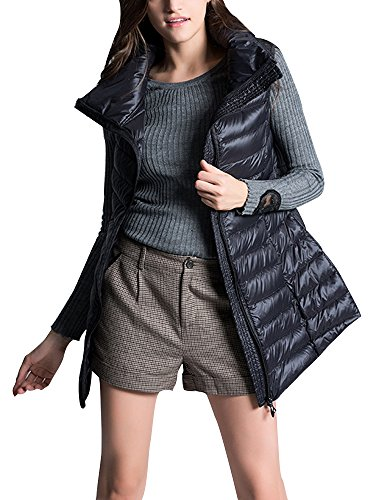 Gooket Women's Mid Long Down Vest Puffer Lightweight Down Jacket Stylish Windbreaker Vest Coat Black Tag 3XL-US L