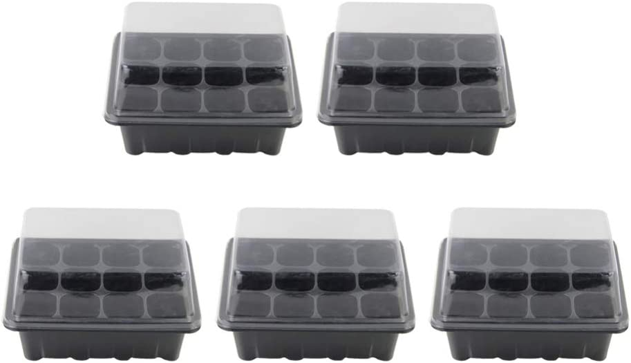 12 Cells Seed Starter Tray with Dome and Base 5 Green 5 Black Plant Germination Trays with Drain Hole FANGHZHIDI 10 Pack 120 Cells Reusable Seedling Box with Humidity Adjustment Kits