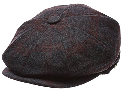 - Men's Classic 8 Panel Wool Blend Newsboy Snap Brim Collection Hat (X-Large, 2320-Grey-Wine plaid)