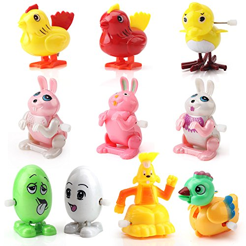 Amy&Benton Assorted Wind up Toys for Toddlers 10PCS Wind-up Chicks, Bunnies and Eggs for Preschool - Kids Chick