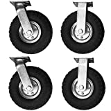 4pcs 2X 10'' Rigid Caster and 2X 10'' Swivel Caster set with Flat Free Tire