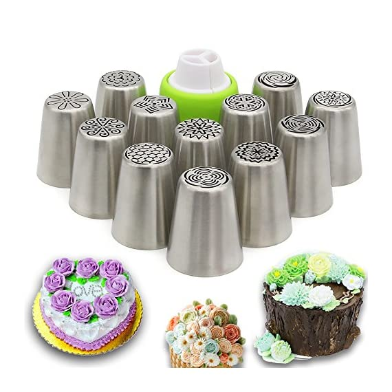 Russian Piping Tips Set,Feleph Cake Decorating Supplies Kit for C 1 MATERIAL: These Professional icing nozzle tips are made of 100% food grade FDA approved 304 stainless steel. These Tips are Eco-friendly, easy to wash and handle, long lasting and reusable,smooth chrome finish. CREATE IMPRESSIVE CAKES:Let your imagination run wild with this icing nozzles to decorate wedding cakes, cupcakes, cookies and so on. Look at photos or videos that inspire you to action, just follow it to have some fun on your dessert with this set. EASY TO USE AND CLEAN: Just a little pressure on the pastry bag, you can create beautiful flowers. Coming with a little clean brush, to make you clean the tips more easier.