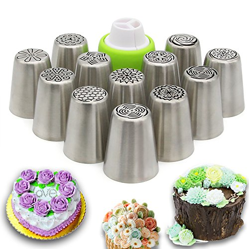 Russian Piping Tips - Cake Decorating Supplies - 13 Baking Supplies Set - 12 Icing Nozzles - 1 Premium Decoration Conventor - Extra Large Decoration Kit - Best Kitchen Gift by Feleph