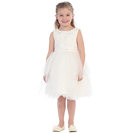 Amazon Little Girls White Sparkle Floral Lace Tulle Layered