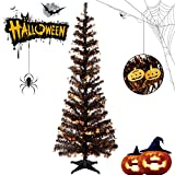 Halloween Tinsel Trees Collapsible, 5FT Artificial Christmas Tree Reusable, Pop Up Pencil Xmas Tree with Plastic Stand Outdoor Indoor for Home Decoration, Office, Party, Apartment, Fireplace-Pumpkin