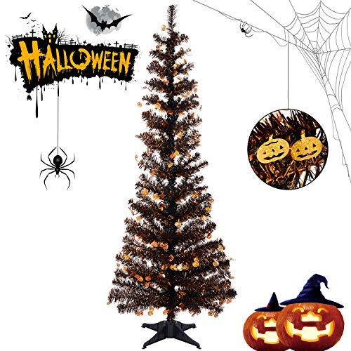 Halloween Christmas Tree (Halloween Tinsel Trees Collapsible, 5FT Artificial Christmas Tree Reusable, Pop Up Pencil Xmas Tree with Plastic Stand Outdoor Indoor for Home Decoration, Office, Party, Apartment,)