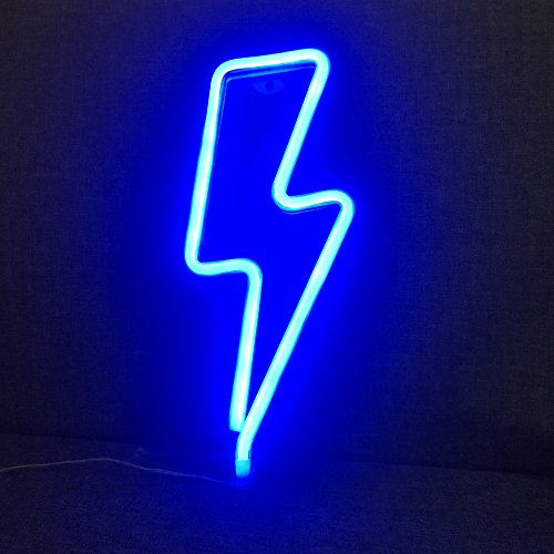 Fefelightup Blue Lightning Neon Signs Light Night Lights Art Decorative Lights for Romantic Atmosphere