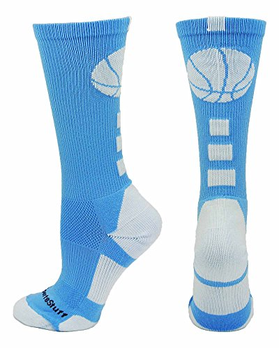 MadSportsStuff Basketball Logo Athletic Crew Socks, Small - Columbia Blue/White