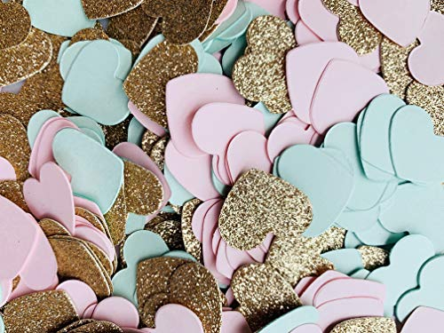 Fonder Mols Blush Pink Mint Rose Gold Glitter Paper Heart Confetti for Bridal Shower, Wedding Table Decor, Baby Shower Table Decorations 500pcs per Bag