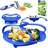 kitchen appliance bundles black friday PREMIUM Silicone Vegetable Steamer Basket - Blue - 8