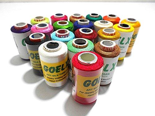Goelx Silk Thread 20 Main Color Set for Jewellery-Tassel Making- Embroidery-Crafts, Shiny Soft Thread spools